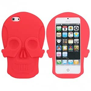 3D Skull Shape Soft Silicone Case Skin Cover For iPhone 5 5G --- Color:White