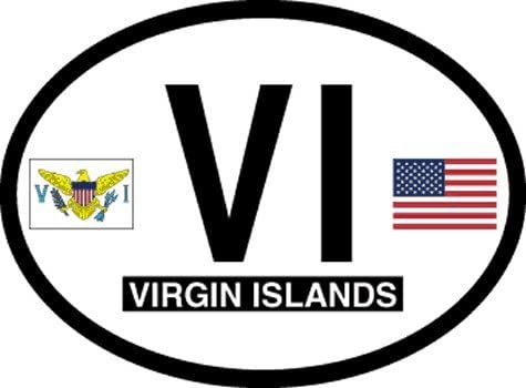 Truck or Boat Flag It US Virgin Islands Oval Decal for auto