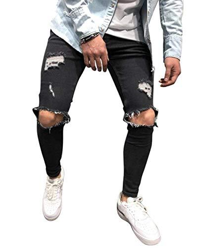 Sguardo Nero Strech Casual Comode Slim Pantaloni Fit Uomo Fori Abiti Distrutto Vintage Fashion Denim Taglie Jeans E8Z1qn