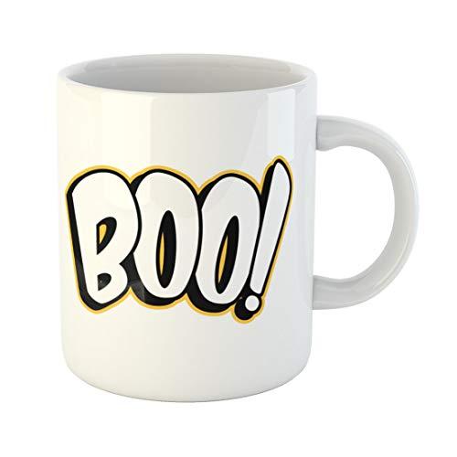 Semtomn Funny Coffee Mug Scary Boo Sign Black