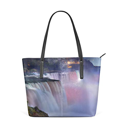 Laptop Tote Bag Niagara Falls From The View Of The Maid Of The Mist Large Printed Shoulder Bags Handbag Pu Leather Top Handle Satchel Purse Lightweight Work Tote Bag For Women Girls