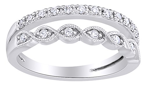 White Diamond Double Stack Anniversary Band Ring 14K Solid White Gold (0.25 Ct), Ring Size-9