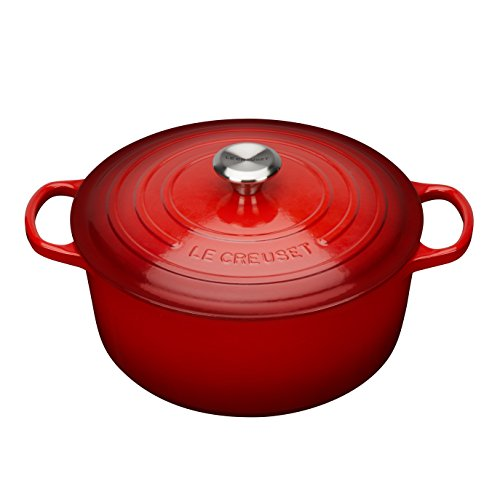 Le Creuset Signature Enameled Cast-Iron 7-1/4-Quart Round French (Dutch) Oven, Cerise (Cherry Red) w/ Stainless - Ovens Round French Red