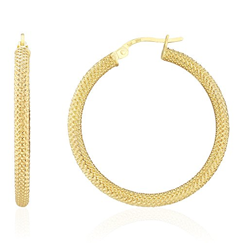 14k Yellow Gold Mesh Style Textured Fancy Hinged Snapback Hoop Earrings 0.79'' 1.18'', Large by WJD Exclusives