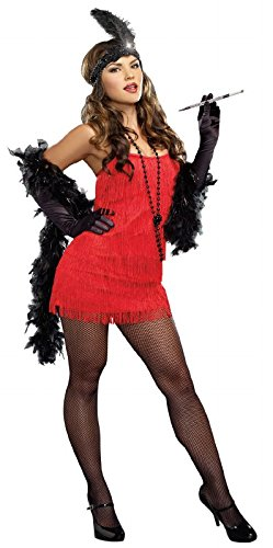 Dreamgirl Flapper Costume Dress, Red, X-large