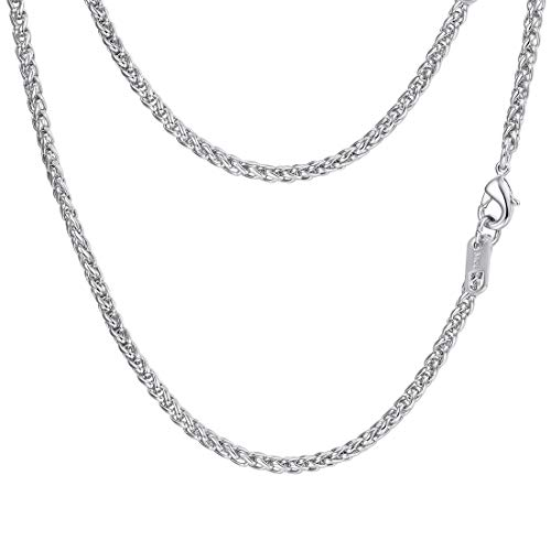 PROSTEEL Stainless Steel Wheat Braided Chain Link Necklace Twisted Chain Foxtail Chain Woven Chain Men Women 3mm Simple Chain