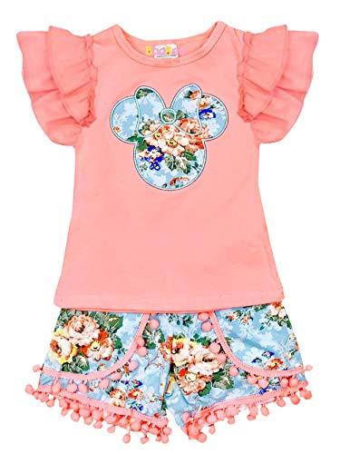 Boutique Little Girls Disney Mickey Minnie Mouse Ruffles Top Pom Pom Short Set 6/2XL