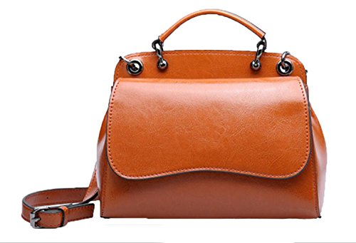 Shoulder Tote Leather Wax Messenger Genuine Messenger Bags Wild Bags Gray Oil Women Post Fashion color Brown Bags Handbags Leather nn6qv1A