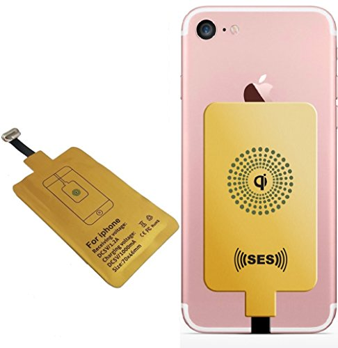 iPhone Wireless Charger Fast Speed Qi Gold Charging Receiver 1A for iPhone 7 6s 6 Plus 5 5s 5c Improved Adapter Coil Patch Module Ultra Slim 0.4 MM by (Apple Wireless Adapter)