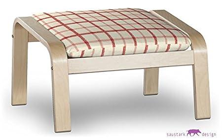 saustark design paris cover for ikea poang dala foot stool red check pattern ektorp
