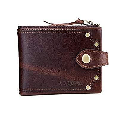 Contacts Men's Crazy Horse Oil Leather Bifold Trifold Card Purse Wallet