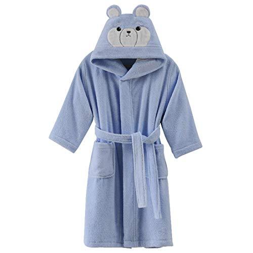 Kids Cotton Terry Robe Boys Girls Bathrobe Long Sleeve Hoodie Animal Pajamas (Blue, Tag 8A: 5-6 Years)