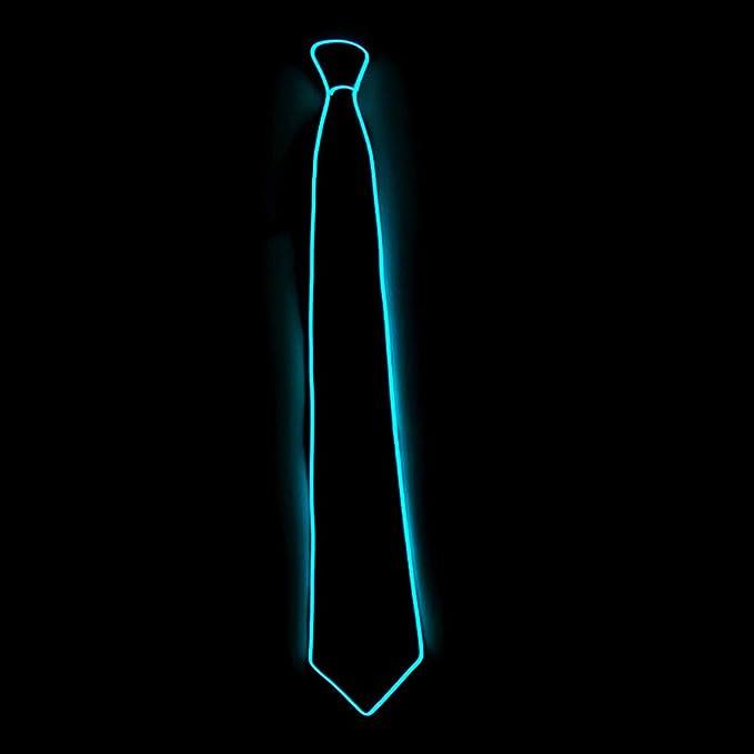Corbata neón luminosa led de color azul agua
