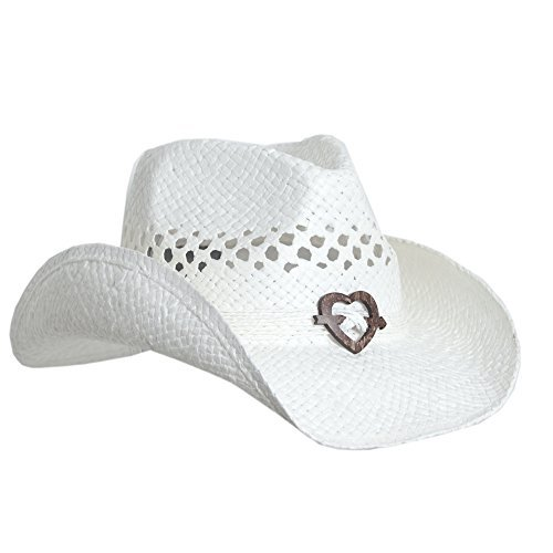 Women's Cowboy Hat with Heart, White, One Size Dance Western Cowboy Hat