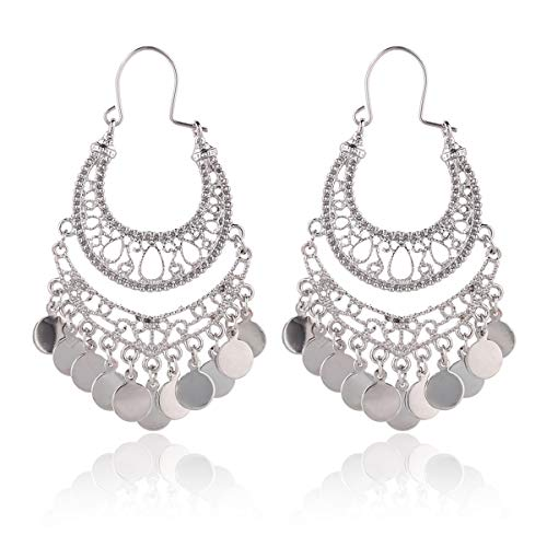 RIAH FASHION Bohemian Chandelier Coin Dangle Earrings - Gypsy Lightweight Filigree Disc Charm Tassel Ethnic Hoops (Silver)