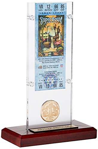 NFL Denver Broncos Super Bowl 33 Ticket & Game Coin Collection, 12'' x 2'' x 5'', Black by The Highland Mint