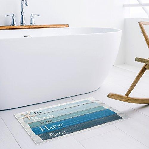 HomeCreator The Beach Is My Happy Place - Blue Rustic Wood Door Mats Kitchen Floor Bath Entryway Rug Mat Absorbent Indoor Bathroom Decor Doormats Rubber Non Slip 18 x 30 Inch