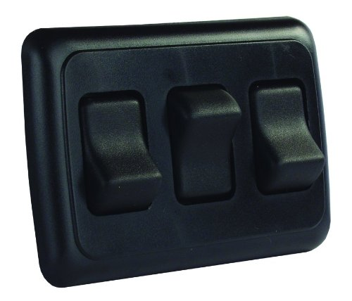 JR Products 12245 Black Triple SPST On-Off Switch with Bezel