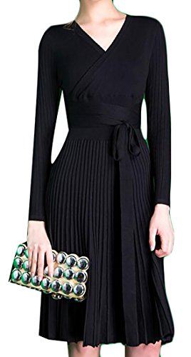 Hem Belt Slim Autumn Women's Dress Sleeve Cruiize Black Knits Pleated Long ZXYHxq