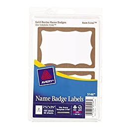 Avery Print or Write Name Badge Labels with Gold Border, 2-11/32\