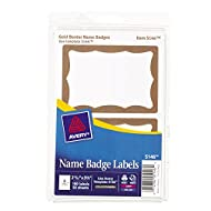 """Avery Print or Write Name Badge Labels with Gold Border, 2-11/32"""" x 3-3/8"""", Pack of 100 (5146)"""