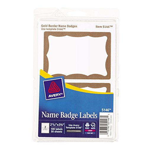 Avery Print Or Write Name Badge Labels With Gold Border