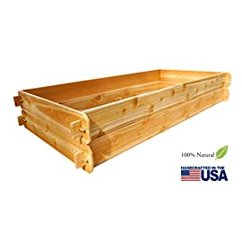 Timberlane Gardens Raised Bed Kit Double Deep, Western Red Cedar Mortise Tenon Joinery, 3' W x 6' L 8 Raised garden bed kit proudly made in homer glen, Illinois USA Constructed of select western red cedar Handcrafted mortise & tenon joinery