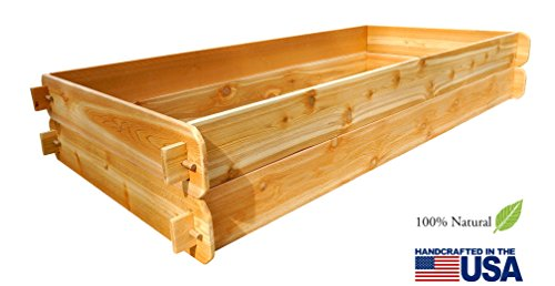 Timberlane Gardens Raised Bed Kit Double Deep, Western Red Cedar Mortise Tenon Joinery, 3' W x 6' -
