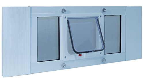 37''-42'' Window Sash Pet Door with locking cat flap (Cat Flap 6 1/4'' x 6 1/4'') by Ideal Pet Products