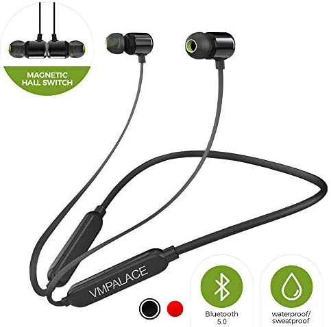 VMPALACE Bluetooth Headphones, Noise Cancelling Headphones with Microphone – Magnetic HD Stereo Wireless Headphones, IPX7 8 Hour Battery Waterproof Bluetooth Headset for Running Workout Gym