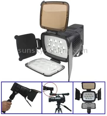 LED-5012 Protective Case for Sports Camera 10 LED Video Light with Grip//Two Color Transparent Filter Cover // Adjustable Brightness ,Size: 120x92x150 mm Tawny//Transparent