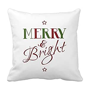 Generic Custom 18 X 18 Pillow Cover Cover Marry And Bright Holiday Pillowcase