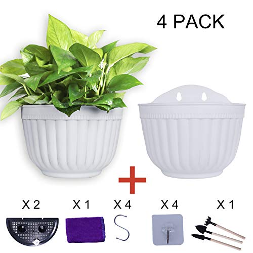 6 inch Wall Hanging Planters Pot Plant Hangers Vertical Flower Basket Container Wall Mounted Flower Pots with Drainage for Indoor Outdoor with Extra Accessories, White 4 Set