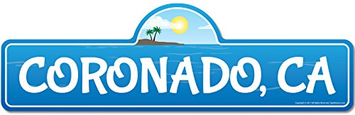 (SignMission Coronado, CA California Beach Street Sign | Indoor/Outdoor | Surfer, Ocean Lover, Décor for Beach House, Garages, Living Rooms, Bedroom Personalized Gift)