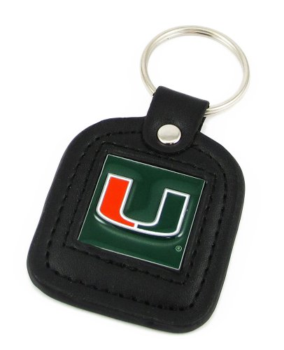 Miami Hurricanes Leather Square Key Ring - NCAA College Athletics Fan Shop Sports Team Merchandise