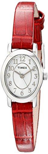 Decade Ladies Dress Watch - Timex Women's Cavatina Red Leather Strap Silver-Tone Case Dress Watch TW2P60500