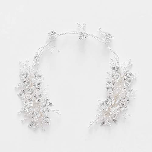 SJY Headband Wedding Women's Headwear Wedding Dress Hair Accessories Handmade Weaving Wreath Europe and America Headwear Pearl Headband Hair Accessories Wedding Gift,Silver