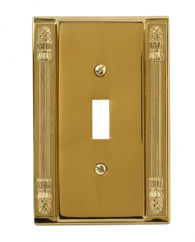 (AmerTac Pineapple Cast Single Toggle Solid Brass Wallplate in Bright)