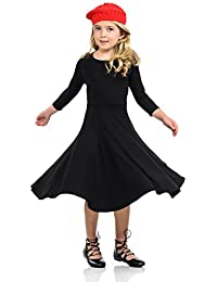 Honey Vanilla Girls' Princess Seam A-Line Dress Full Skirt Easy Removable Label
