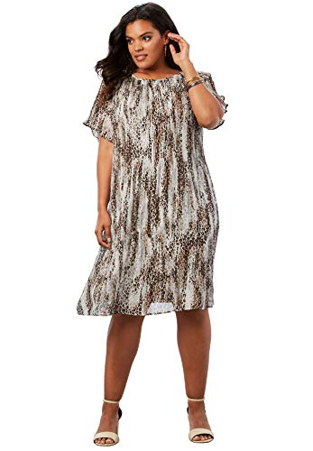 Roamans Women's Plus Size Pleated Dress - Foil Abstract Cheetah, 18 ()