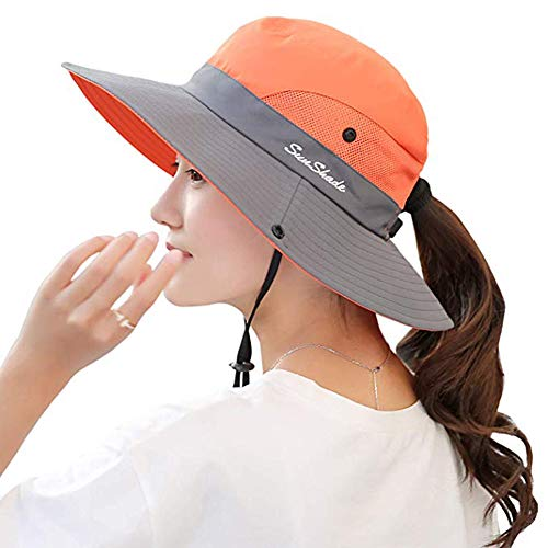Ponytail Women's Summer Sun Bucket Hats UV Protection Safari Hiking Wide Brim Beach Foldable Mesh Fishing Cap (Orange) - Bucket Brim Large