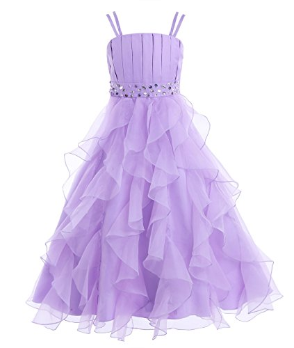 iiniim Girl's Organza Princess Party Pageant Wedding Prom Gowns Flower Girl Dress Lavender 10 - Prom Pageant Wedding Gown