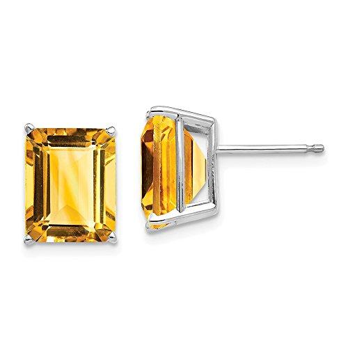 14k Emerald Cut Citrine stud earring