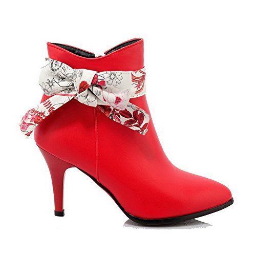 Red PU Pointed Toe Women's Zipper Boots Assorted Color Heels High WeiPoot Closed q16Pw8gB
