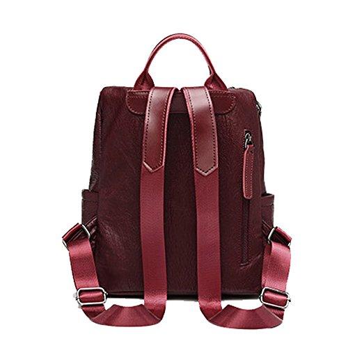 Zipper mochila mujer para mediana Mochila Winered vintage cuero FZHLY Mochila mochila single caliente informal genuina diaria ciudad de grande cuero caliente de q0P10w8