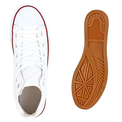 Stiefelparadies Sportliche Herren Sneakers High Top Freizeit Turnschuhe Schuhe Flandell Weiss Rot