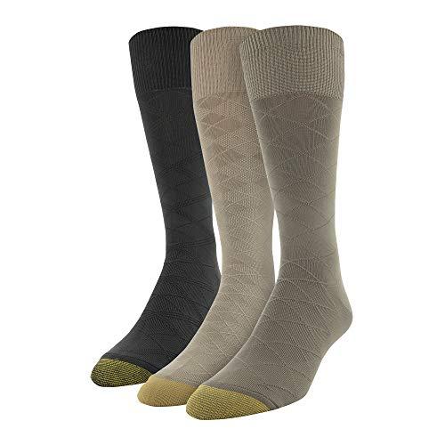 Gold Toe Men's Diamond Micro Nylon Dress Socks, 3 Pairs, brown, Shoe Size: 6-12.5
