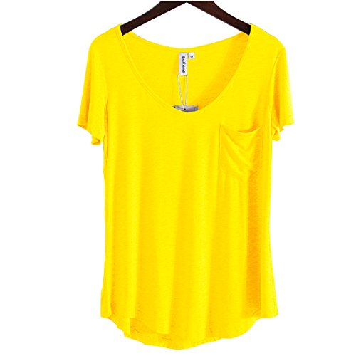 T-shirt Bright Yellow (LUFENG Women's Casual V Neck T-Shirt Short Sleeve High Low Tunic Loose Blouse Tops with Pocket Yellow)