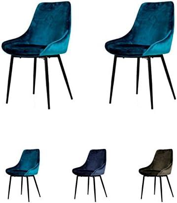 Tenzo Lex 2er Set Designer Stühle, Metall, Petrol Blau, 85 x 47,5 x 56 cm (Hxbxt), Sitz : Stahl mit Schaum. Stoff : 100% Samt, Petrol BlauSchwarz,