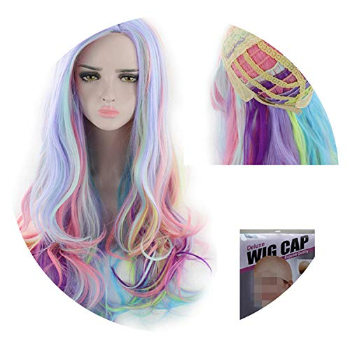 Similar Halloween Costume Wigs for Women Multicolor Long Curly Synthetic Wig PartyHigh Temperature Fiber Hair 24 inch,#2,24inches ()